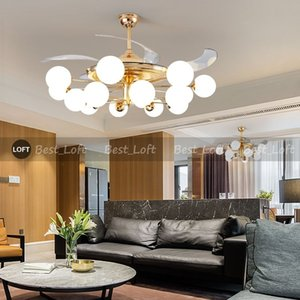 42 inch Modern Invisible Fan lights Acrylic Leaf Led Ceiling Fans 36W Power Wireless remote control ceiling fan light