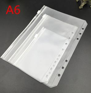 A6 Limpar Pockets Binder perfurados para Notebooks 6 furos Zipper da folha solta Bolsas Bolsos Notebook geadas PVC Organizar Documento de armazenamento de pastas