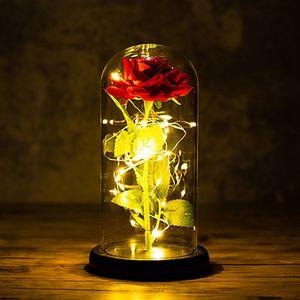 رومانسية الأبدية زهرة غطاء زجاجي الديكور الزهور الغطاء الزجاجي محفوظة الحزب يوم الزفاف روز ديكور عيد الحب لوازم IIA755