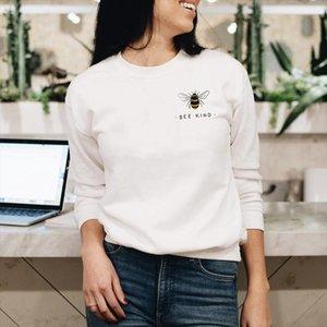 Colored Bee Kind Pocket Sweatshirt Cute Women Graphic Jumper Pullovers Casual Long Sleeve Inspirational Kindness Sweatshirts