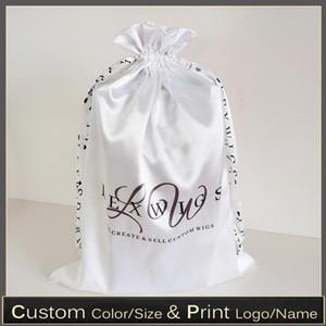50pcs Custom Silk Satin Hair Extensions Storage Drawstring Bag Shoes Bag Bundles Wigs Packaging Bags Print Logo