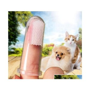 pets supplies dog cat toys soft finger brush dog toothbrush bad breath dental care tartar pet dog cat cleaning tool shipping Xt8PV