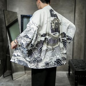 Yukata Kimono Cardigan Men Japanese Kimono Men Print Asia Cosplay Costume Top Beach Thin Casual Coat Sun Protection Shirt