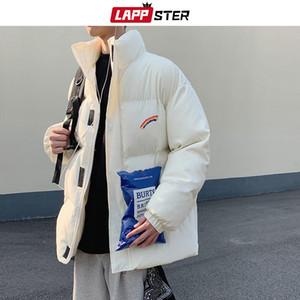 LAPPSTER Homens do arco-íris Grosso Bolha Brasão Parka Mens Streetwear Hip Hop Jaquetões Coats Masculino Quente coreano soprador Jackets 201014