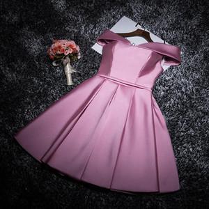 Lanxirui Burgund Rosa elegante Knielänge Fest-Partei-Kleider weg von der Schulter Frauen formales Kleid Vestidos