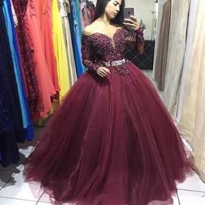 2021 New Sexy Sweetheart Бисером Бальное платье Платья Quinceanera Applique Длинный рукав Сладкий 16 Платье Дебютантное Платье Платье Promate Custom Сделано 15