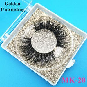 Golden Unwinding Mk-20 Wholesale 3d 18mm 5d Bulk Vendor with Custom Box Soft Mink Hair Lashes Packaging