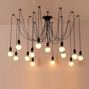 Retro industrial wind spider led chandelier living room dining room bedroom Edison iron art celestial flower lamp