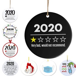 2020 Christmas Ornament for Xmas Tree Decorations Hanging Accessories Round Ceramic Home Decor, Complete Bullshit Would Not Recommend