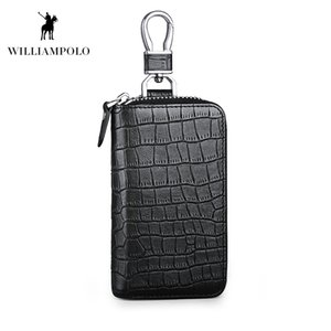 WILLIAMPOLO 2018 New Crocodile Key Wallet Genuine Leather Cowhide 6 Keys Holder Design Home Key Case POLO186123