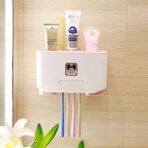 Automatic Toothpaste Dispenser Toothbrush Holder Bathroom Products Nail-free Wall Mount Rack Bath Set Toothpaste Squeezers T200506