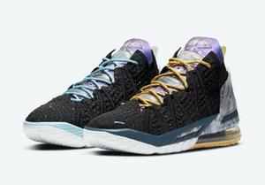 Размышления LeBron 18 Империя Джейд Лейкерс Черный Металлик Золотой суд Фиолетовый Белый для продажи с коробкой 2020 ботинок баскетбола магазин US4-US12