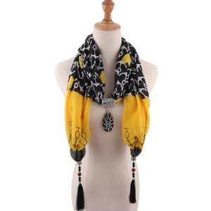 New Colorful Printed Synthetic Stone Water Drop Pendant Statement Necklaces Charm Tassel Scarf Necklace Jewelry scarves for Women