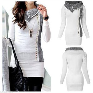 Hot Sale Casual Women Winter Autumn Long Sleeve Pullover Jacket Sweater Coat Hooded Jumper Tops White High Collar Sweaters