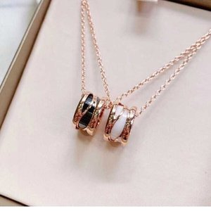Brand New Silver fashion Rose gold white ceramic luxury jewelry women diamond blossom iced out pearl cross bzero1 designer women neckl g1q2#