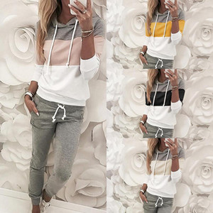 Женские трексуиты осень осень женская мода лоскутное капюшон карманные с длинным рукавом верхние брюки пассуит женские девушки спортивная одежда Suite1