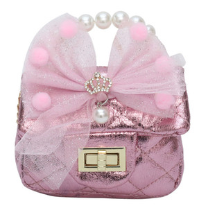 New Kids Girls Pearl Gauze Bow Princess Handbags Children Mini Accessories Change Purse Cute Baby Metal Chain Messenger Bags C6719