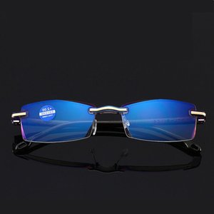 2021ZUEE Mode Damen Full-Frame Frameless Diamant-cut Lesebrille Männer Anti-blau Light Reading Spiegel