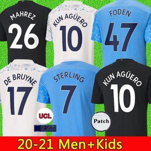 Manchester City 2020 2021 Camiseta de fútbol DE BRUYNE KUN AGUERO camisas de futebol MAHREZ camisa de futebol BERNARDO SILVA SANE GUNDOGAN Camiseta man city Foot Kit uniformes