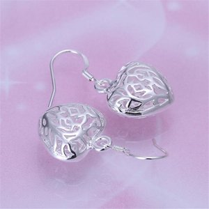 Hot Selling Women Silver Color Earrings Elegant And Beautiful Heart Shaped Fashion Jewelry Valentine's Day Gift E021 H bbyttr