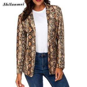 Fashion Women Streetwear Snake Print Blazer Coat Snakeskin Print Suit Outerwear Outerwear Brown Clothing Femme Jacket Tops