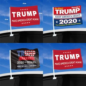Car Window Decoration Trump Flags 2020 USA General Election Keep America Great Again Banner Five Point Stars Flag With Flagpole 5 99qt F2