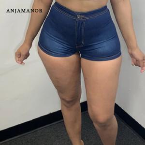 Anjamanor حار مثير امرأة الجينز عالية الضائع جان غنيمة السراويل للنساء ملابس الصيف 2020 نحيل الدينيم السراويل D74-CG17 T200701