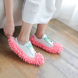 Dust Mops Slipper House Bathroom Floor Cleaning Mop Cleaner Slipper Lazy Shoes Cover Microfiber 6 Colors EEF4288