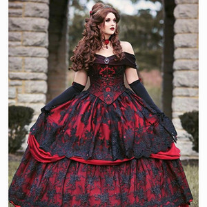 Gothic Red Black Wedding Dresses Princess Ball Gown Vintage Lace Corset Strapless Tiered Beauty robe de mariee Plus Size Bridal Gowns