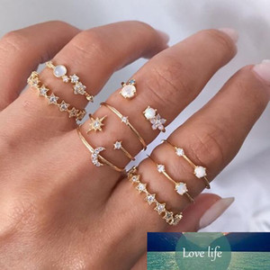 Vintage Knuckle Finger Rings Set for Women Boho Moon Star Crsytal Ring Female Bohemian Gold Color Jewelry Accessories