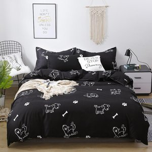 Black White Dog Print Girl Boy Kid Bed Cover Set Duvet Cover Adult Child Bed Sheets And Pillowcases Comforter Bedding Set 61071
