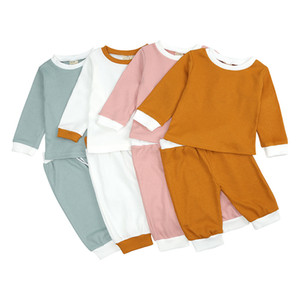 Autumn spring 2Pcs Baby Girls Boys Clothes Set Cotton Casual Homewear Long Sleeve Tops+Pants Toddler Infant kids Outfit Sleepwear