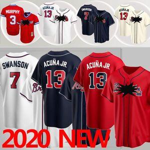 Атланта 13 Ronald Акуна Jr Выдерживает 5 Фредди Фриман 3 Дейл Мерфи 7 Dansby Swanson 2020 Пользовательские трикотажные изделия бейсбола