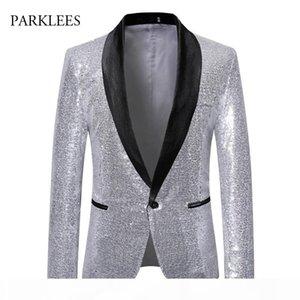 Silver Sequins Men Blazer Shiny Sparkle Glitter Stage Perform Show Blazer Hombre Nightclub Disco Dance Party Blazers Men Suits