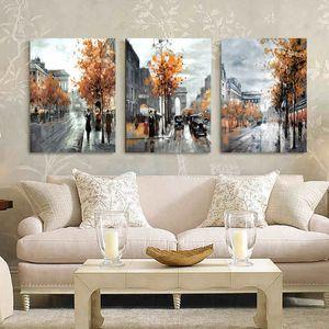 3 панели стены искусства живопись домашнего декора пейзаж город улица стены фото печатает на холсте стены декор на стене холст роспись Hy44 y200102