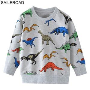 Saileroad de dibujos animados dinosaurios niños sudaderas para niños pequeños con capucha ropa 2-7 años otoño niños manga larga camisas algodón Y200901