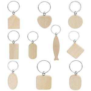 20pcs Blank Rund Rechteck Holzkette Diy Promotion Customized Holz Schlüsselanhänger Schlüsselanhänger Werbegeschenke