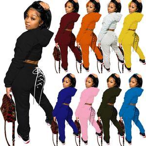 Женщины из двух частей Эпикировки способ вскользь Твердый капюшон Пуловер с карманом кулиска Pencli Брюки партии Дама свитер костюмы отдых 808