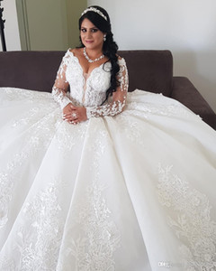 Gorgeous Arabic Aso Ebi Wedding Dresses Plus Size Luxurious Lace Beaded Long Sleeves Ball Gowns Bridal Dresses Vintage Wedding Gowns
