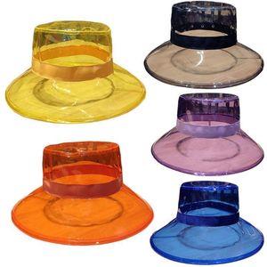 Unisex PVC Transparent Bucket Hat Bright Jelly Wide Brim Waterproof Rain hat