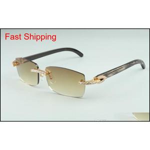 2021 Новейшие 3524012-16 алмазные солнцезащитные очки, натуральный черный узор личностные очки рога, квадратные моды мужские и женщины TNJMO