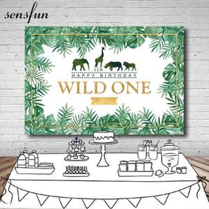 Sensfun Jungle Safari Fotoğraf Parti Backdrop Vahşi Bir Tropikal Yapraklar Boys Doğum Günü Partisi Arka Vinil Özelleştirilmiş 7x5ft