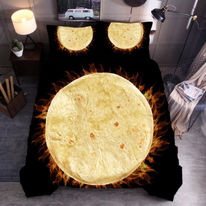 Comfort Food Creations Biscuits Burrito Wrap Novelty 3D Bedding Set Printed Duvet Cover Set Queen King Size for Adult Children