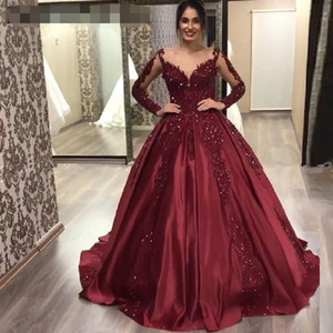 Burgundy beaded Lace Prom Dresses With Full Sleeves evening gowns Ball Gowns Saudi Arabic Prom Gowns Vestido Formatura