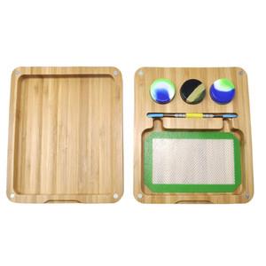 HONEYPUFF Natural Bamboo Handmade Board For Wax Container Dabber Tool Storage Glass Hookah Vaporizer Wax Set Combo Wax Jar Dabber Wood Board