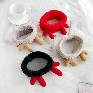 5 Colors Fashionable Plush Christmas Moose Horns Hair with Wide Edges Plush Headband Hair Bands Female Makeup Wash Face