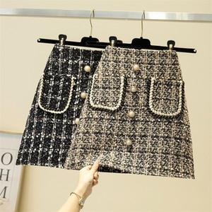 Autumn Winter Skirt Fashion Plaid Tweed Blend Women's Skirt High Waist Blends Skirt