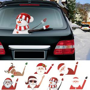 Qifu Papai Noel boneco de neve adesivo de carro Feliz decorações do Natal Para Casa 2020 Presentes Xmas Ornamentos Navidad Feliz Ano Novo 2021 bbyehm