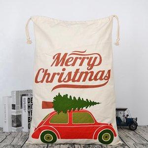 Canvas Christmas Sants Bag Large Drawstring Candy Bags Santa Claus Bag Xmas Santa Sacks Gift Bags For Christmas Decoration OOE2682