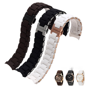 Silicone Rubber Watchband Rose gold in Black fit AR 5905 men 23mm Women 5906 woman 20mm watch band strap